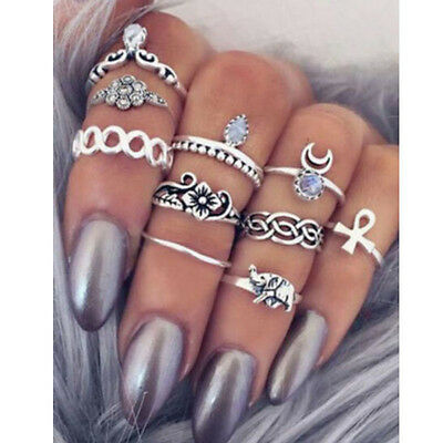 10PCS Punk Vintage Women Knuckle Rings Tribal Ethnic Hippie Stone Joint Ring Set