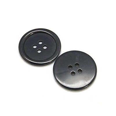 Packet 15 x Black Resin 25mm Round 4-Holed Sew On Buttons HA10615