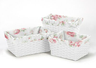 Sage Pink Floral Organizer Storage Kid Basket Liners Fits Small Medium Large Bin