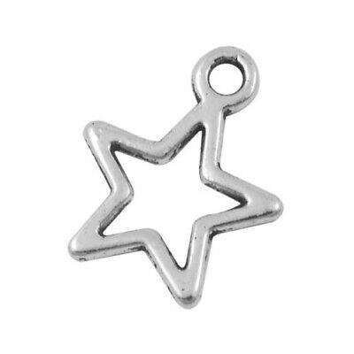 Packet of 30 x Antique Silver Tibetan 15mm Charms Pendants (Star) ZX08680
