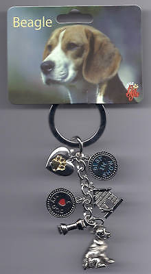 BEAGLE Dog 6 Charm Best In Show Keychain Key Ring New