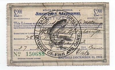 1931 State of California Fishing License