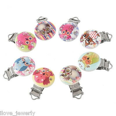 5PCs ilj Mixed Owl Pacifier Clips Round Wooden Colorful Infant Baby Soother