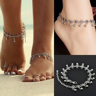 Anklet Silver Bead Chain Ankle Bracelet Barefoot Sandal Beach Foot Jewelry22.5cm