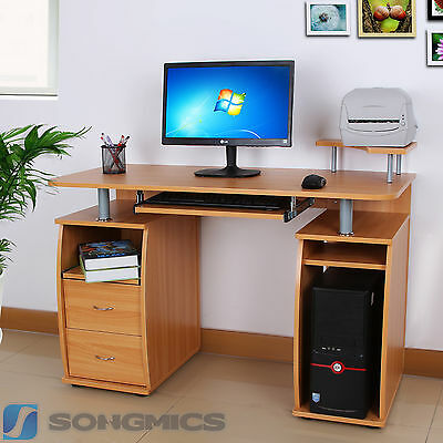 Songmics MDF Computer Desk Study Table Home Office Workstation Red Beech LCD861R