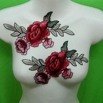 2 Rose Flower Motif Collar Sew on Patch Cute Applique Badge Embroidered Bust Dre