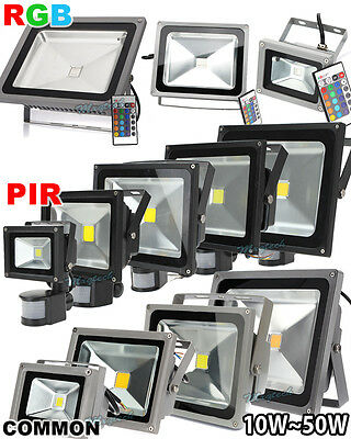 10/20/30/50W LED RGB PIR Motion Sensor Flood Light Outdoor Landscape Spot Lamp
