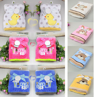 Newborn Infant Baby Blanket Wrap Sleeping Bag Coral Fleece Soft Cartoon Warm