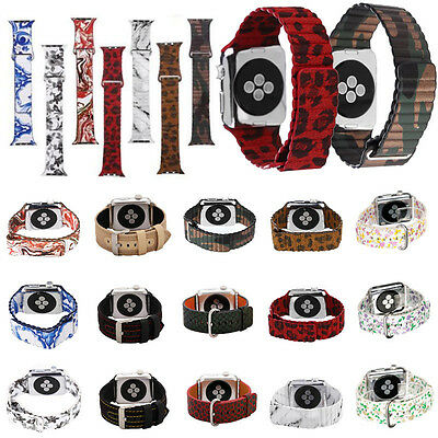 For Apple Watch Sports Genuine Leather Bracelet Strap Band 38mm/42mm Fashion