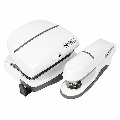 2 Piece White Rapesco P20 Half Strip Stapler & P30 2 Hole Punch Office Desk Set