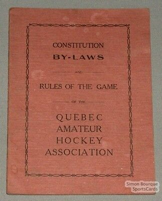 Original Quebec Amateur Hockey Ass Constitution By-Laws