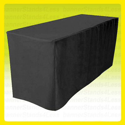 8' Fitted Table Cover Tablecloth Throw Wedding Banquet Trade Show - BLACK