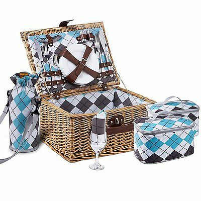 Vivo Country Natural Classic 4 Person English Wicker Willow Picnic Basket Tartan