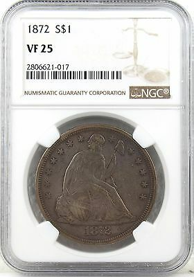1872 Seated Liberty Dollar Choice VF25 NGC, Excellent Quality