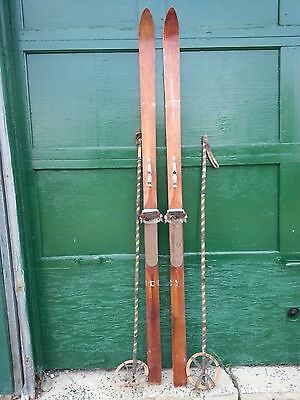"""VINTAGE Wooden 77"""" Skis with Bindings Has OLD Patina Finish + OLD Bamboo Poles"""