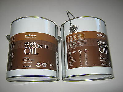 2 x 1.8kg MELROSE Organic Unrefined Cold Pressed COCONUT OIL (Butter)