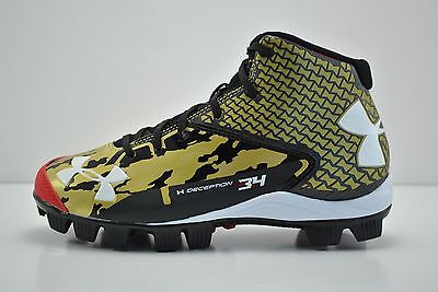 Under Armour Deception Mid Jr Baseball Cleats Spikes Size 4.5Y Black Red Gold