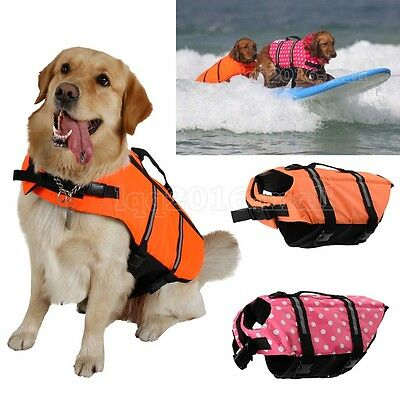 Portable Dog Life Jacket Swimming Float Reflective Adjustable Vest Pet Safety UK