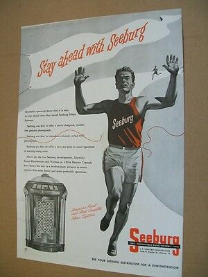 Seeburg Symphonola 1-47 phonograph 1947 Ad- Stay ahead/track & field runner