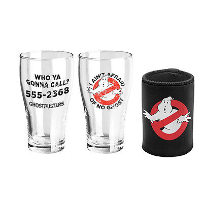 GHOSTBUSTERS 2 x GLASS SCHOONER & CAN COOLER Gift Set Fathers Day Birthday Gift