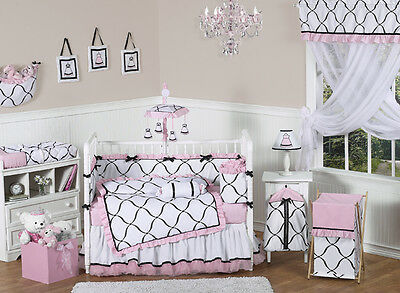 Jojo Discount Boutique Black White and Pink Luxury Baby Girls Crib Bedding Set
