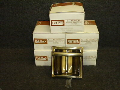 Nos! Vintage Hall Mack Recessed Soap Holder & Utility Bar, Hm-665, Antique Brass