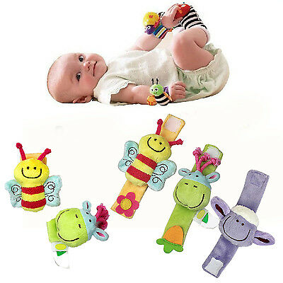 Baby Kid Lovely Wrist Infant Development Soft Cartoon Toys Hand Cuff Rattles CH