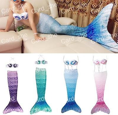 Kids Girls Women Swimmable Mermaid Tails Bikini Fin Swimwear Swimming Costume