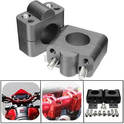 CNC Handlebar Bar Riser Mount Clamps Adaptor 22mm to 28mm Grey Motorcycle ATV