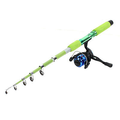 1.8 Meter 6 Sections Telescopic Fishing Pole Rod Green w Angling Spinning Reel