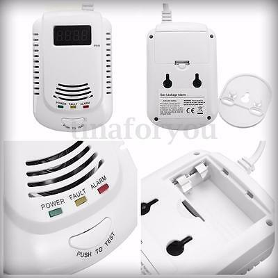 UK Socket Digital Detector Gas LPG Kitchen Leakage Monitor Leakage Alarm Sensor