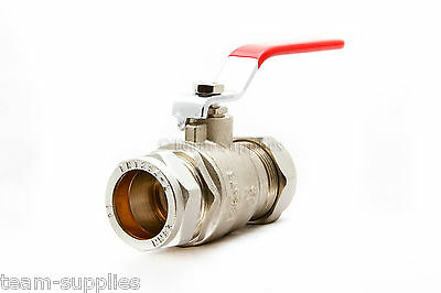 Lever Ball Valve 28Mm Red Handle Compression Full Large Bore