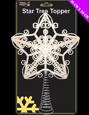 WHITE Star Tree Topper Frosty Glitter Sparkle Star for top of Christmas Tree