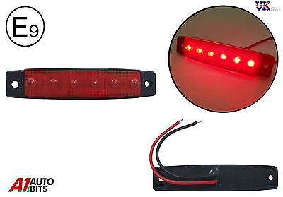 1X 24V 6 LED Side Front Rear Marker Red Light for Truck Man Daf Scania Volvo Erf