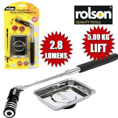ROLSON 60520 Telescopic Magnetic Pick Up Tool With LED + Magnetic Parts Tray GB1
