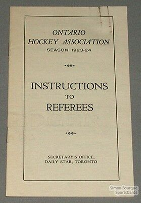 Orig. 1923-24 Ontario Hockey Ass. Referees Booklet