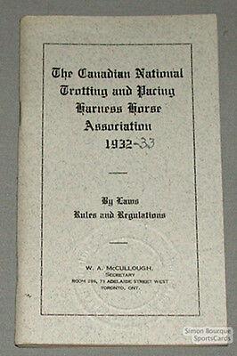 Orig. 1932 Canadian Trotting Ass. By-Laws & Rules Book