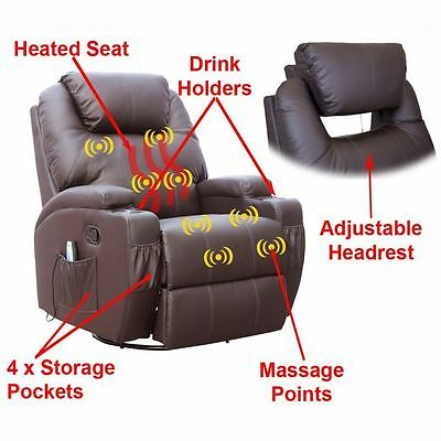 Cinemo Brown Leather Recliner Chair Rocking Massage Swivel Heated Gaming Nursing