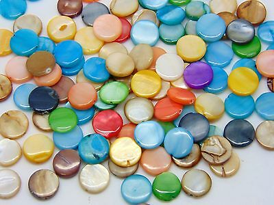50 Pcs -  10mm Mixed Colour Flat Shell Beads Craft Jewellery Beads Craft G158
