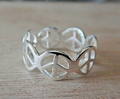size 6.75 Sterling Silver 7mm wide Peace Signs all Around Ring