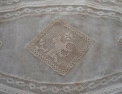 Vintage Normandy French Lace Boudoir Pillow Sham Ribbonwork Embroidered Linen