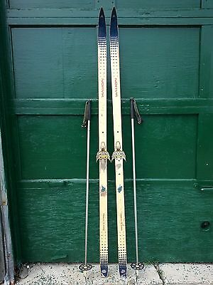 """A Very Interesting Vintage Wooden 73"""" Long Skis Blue White Finish Signed NORVIK"""
