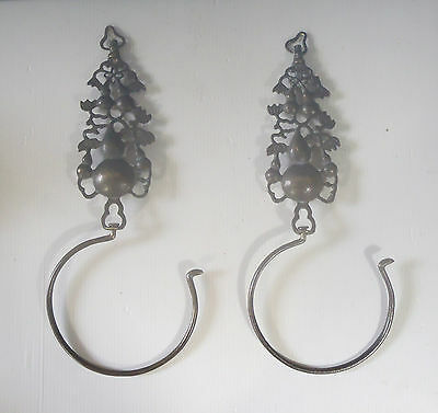 Antique Chinese Brass Hangers One Pair hanging gourd calabash c early 1900s x c
