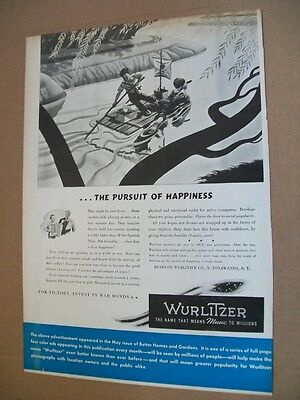 Wurlitzer phonograph WWII 1943 patriotic Ad- kids on a raft/pursuit of happiness