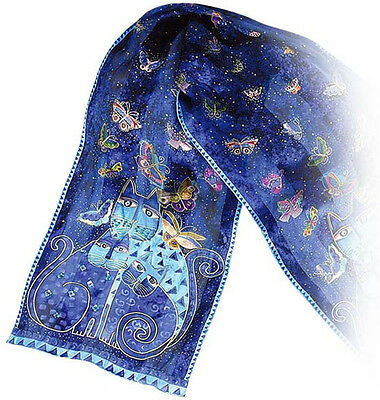 New LAUREL BURCH 100% Pure Silk SCARF Sequin Wrap INDIGO CATS Blue Butterfly