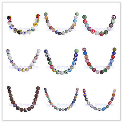 Multi-Color Flower Millefiori Glass Loose Spacer Beads 50pcs Jewelry Findings