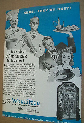 Wurlitzer modernized phonograph 1944 Ad- Sure They're Busy!