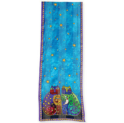 New LAUREL BURCH 100% Pure Silk SCARF Wrap Throw CELESTIAL FELINES Blue Cat Star
