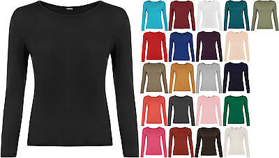 New Womens Long Sleeve Round Neck Plain Basic Ladies Stretch T-Shirt Top