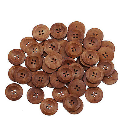 50Pcs Wooden 4 Holes Round Wood Sewing Buttons DIY Cloth Craft Scrapbooking 25mm